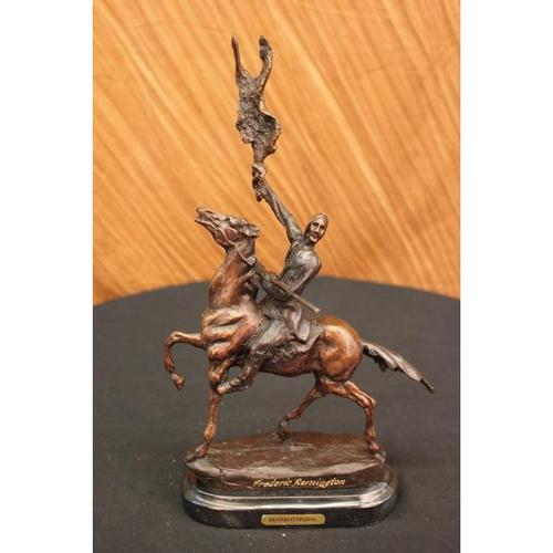 Bronze Statue Native American Indian Horse Holding Flag