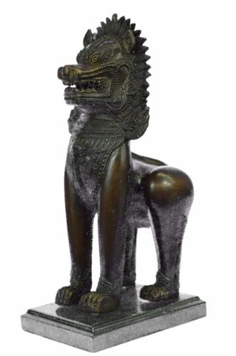 Chinese Guardian Lion Foo Dog Bronze Sculpture Marble