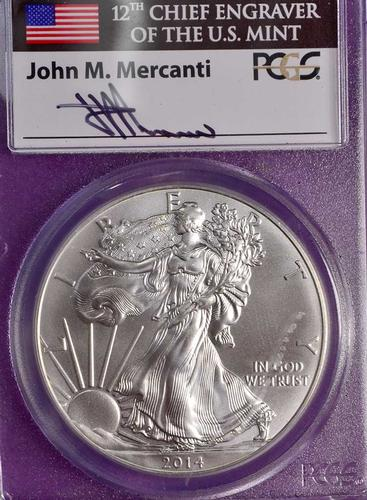 2014 Mercanti Signed MS70 Silver Eagle PCGS