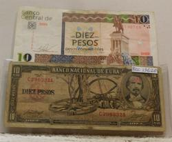 1956 and 2013 Cuba 10 Peso Notes.  Then-and-now.