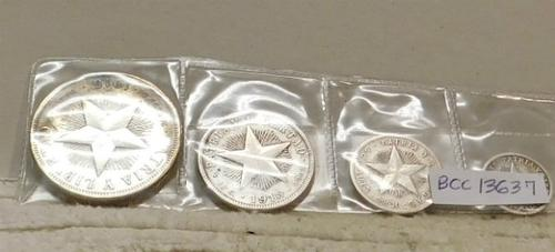 Cuba:  1915 Silver Year Set, Silver, 4 pc, First Year