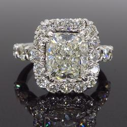 Platinum Approximately 4.00CTW Cushion Cut Ring