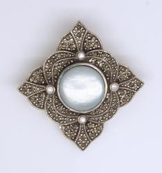 Mother of Pearl and Marcasite Pin