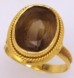 Smoky Quartz Ring in 18K Gold, Size 6.75