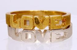 White & Yellow Gold Love Rings, Both Size 5.75