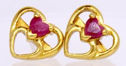 Ruby and Yellow Gold Heart Earrings