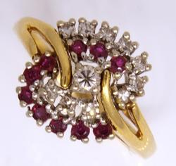 Diamond & Ruby Cluster Ring, 7.75