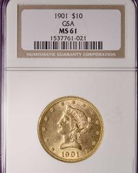 1901 $10 GSA Gold Indian Eagle, NGC MS61