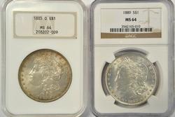 NGC MS64 graded 1885-O & 1889 Morgan Silver Dollars