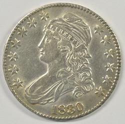 Nice AU 1830 Capped Bust Half Dollar. Full strike