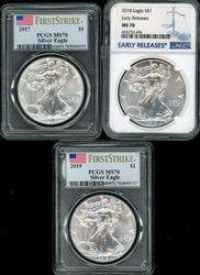 3 MS70 graded 2017, 2018, & 2019 $1 Eagles. PCGS & NGC