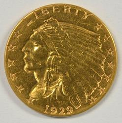 Nice-looking 1929 US $2.50 Indian Gold Piece