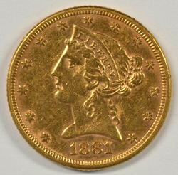 Very appealing 1881 US $5 Liberty Gold Piece