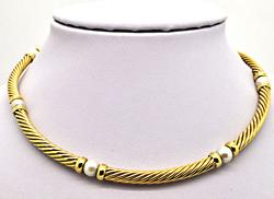 DAVID YURMAN 18 KT GOLD PEARL CABLE NECKLACE.