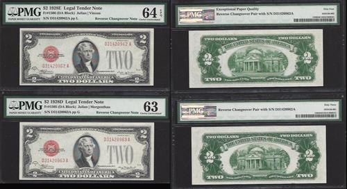 $2 1928-E, 1928-D, Reverse Changeover pair PMG