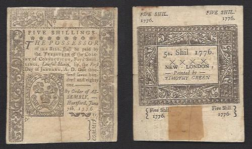 5 Shillings Colonial Currency 1776