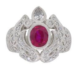 Platinum an Ruby Diamond Ring