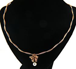 Gorgeous Rose and White Diamond and Pearl Necklace