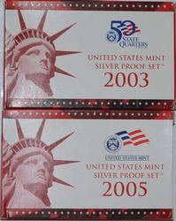 2003 S and 2005 S US Silver Proof Sets Gem Coins