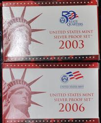 2003 S and 2006 S US Silver Proof Sets
