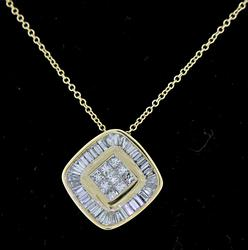 18kt Set Princess and Baguette Diamond Necklace