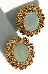 Vintage Opal Clip Earrings