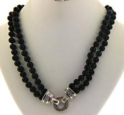 Judith Ripka Double Strand Onyx Necklace