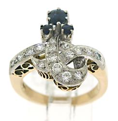 Antique Sapphire and Diamond Loop Ring