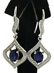 Blue and White CZ Dangle Earrings