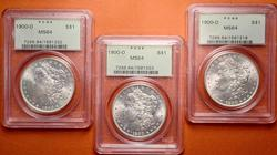 3 x 1900-O PCGS MS64 Morgan Dollars
