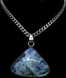 Large Moonstone Pendant on 20in Sterling Silver Chain
