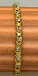 Gold X-Link Bracelet with Diamonds, 7.25in