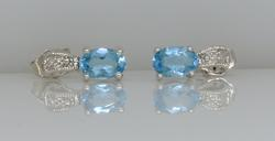 Blue Topaz & Diamond Post Earrings
