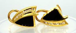 Classy Black Onyx & Diamond Earrings, 0.5in