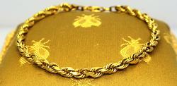 Gold Rope Bracelet, 7.5in