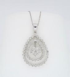 18K White Gold Floral Halo Diamond Necklace