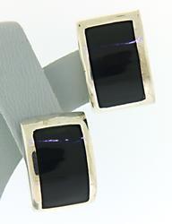 Black Enamel Sterling Silver Earrings