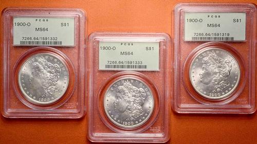 3 x 1900-O PCGS MS64 Morgan Dollars