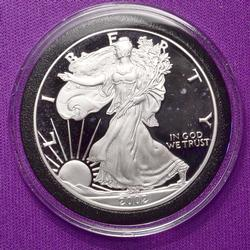 2002 Proof American Silver Eagle in Capsule