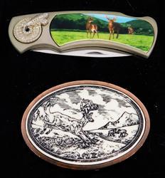 Deer Scene Knife & Belt Buckle, MIB