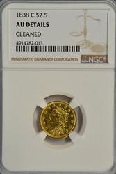 Ultra-Rare near Mint 1838-C Classic Head $2.50 Gold