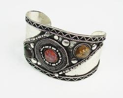 Charming Ethnic Handmade Multistone Silvertone Bracelet
