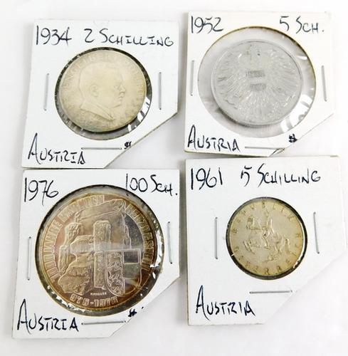 4 Austria Coins - 1934-1976