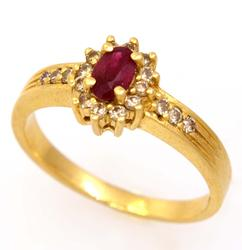Ruby & Diamond Ring in Gold, Size 6.5