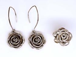 Matching Rose Dangle Earrings & Ring