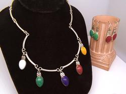 Multi Stone Necklace & Two Sets of Matching Earrings