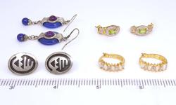 Four Pairs of Earrings, Diamonds, Opals, Etc