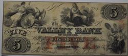 Obsolete $5 Dollars Valley Bank Hagerstown Md