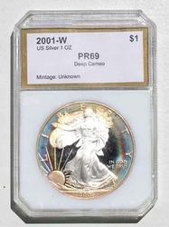 2001  W  Toned Silver Eagle Proof 69 Deep Cameo