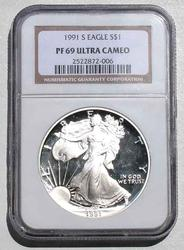 1991 S Silver Eagle NGC  Proof 69 Ultra Cameo